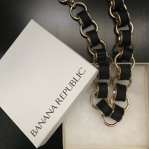Banana republic gold and black grosgrain necklace